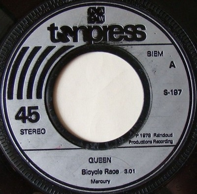 "Bicycle Race / Spread Your Wings - Queen (Winyl, 7"", 45 RPM, Singiel, ℗ © 1978) - przód główny"