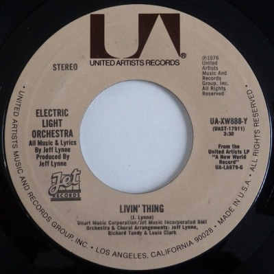 "Livin' Thing - Electric Light Orchestra (Winyl, 7"", 45 RPM, Singiel, Styrene, Stereo, Pitman Pressing, ℗ © 1976) - przód główny"