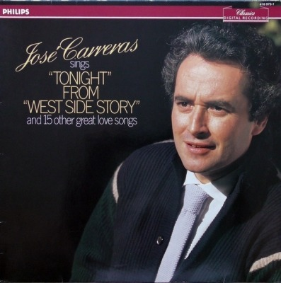 "Jose Carreras Sings ""Tonight"" From ""West Side Story"" And 15 Other Great Love Songs - José Carreras (Album, Winyl, LP, Stereo, Digital Recording, ℗ © 1986) - przód główny"