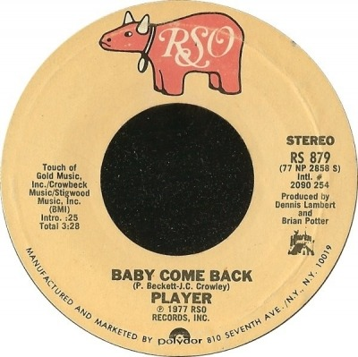 "Baby Come Back - Player (Winyl, 7"", 45 RPM, Singiel, Styrene, Pitman Pressing, ℗ © 1977) - przód główny"